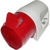 WALTHER 32 AMP 4 PIN RED ANGLED SOCKET INDUSTRIAL