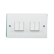 CRABTREE 4174 10 Amp 4 Gang 2 Way Single Pole Switch White