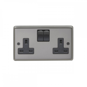 Eurolite BN2SOB Socket Switched 2 Gang Double Pole 13 Amp