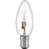 28W SBC 35MM CLEAR CANDLE HALOGEN ENERGY SAVING