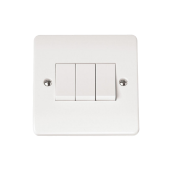 Click CMA013 Plateswitch 3 Gang 2 Way 10 Amp White Plastic