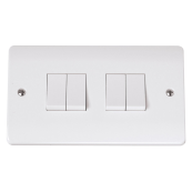 Click CMA019 Mode Plateswitch 4 Gang 2 Way 10 Amp White Moulded Plastic