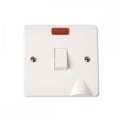 Click CMA023 Switch Double Pole Neon & Flex Outlet 20 Amp White