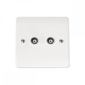 Click CMA159 Socket CoAxial Twin Isolated Socket White Moulded Plastic