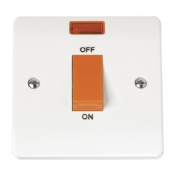 Click CMA201 Mode Cooker Switch 1 Gang Neon 45A White Moulded Plastic