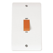Click CMA202 Mode Cooker Switch 2 Gang 45A White White Moulded Plastic
