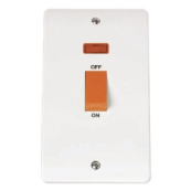 Click CMA203 Mode Cooker Switch 2 Gang Neon 45A White Moulded Plastic