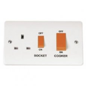 Click CMA204 Mode Cooker Control Unit & 13 Amp Socket 45 Amp White Moulded Plastic