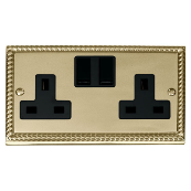 Click Deco GCBR036BK Socket 2 Gang Switched 13 Amp Cast Brass