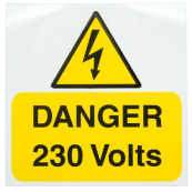 Ind Signs IS1705RP Danger 230V Label