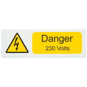 Ind Signs IS2110SA Danger 230V Label Pk=10