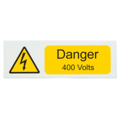 Ind Signs IS2210SA Danger 400V Label