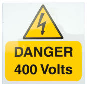 Ind Signs IS2505RP Danger 400V Label