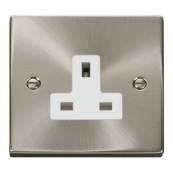 Click Deco  VPSC030WH Socket 1Gang 13Amp Satin Chrome  White