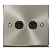 Click Deco VPSC065BK Twin Coax Plate Satin Chrome Black Insert