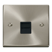 Click Deco VPSC125BK Satin Chrome Secondary Single Telephone Socket Black Insert