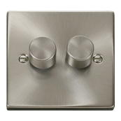 Click Deco VPSC152 2G Dimmer Switch 2x400W Satin Chrome