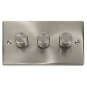 Click Deco VPSC153 3G Dimmer Switch 3x400W Satin Chrome