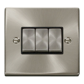 Click Deco VPSC413BK 3 Gang 2 Way 10 Amp Satin Chrome Ingot Switch Black Insert