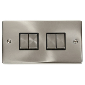 Click Deco VPSC414BK 4 Gang 2 Way Plateswitch 10 Amp Satin Chrome Black Insert