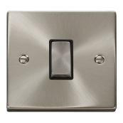 Click Deco VPSC425BK 1 Gang 10 Amp  Intermediate Ingot Satin Chrome Switch Black Insert
